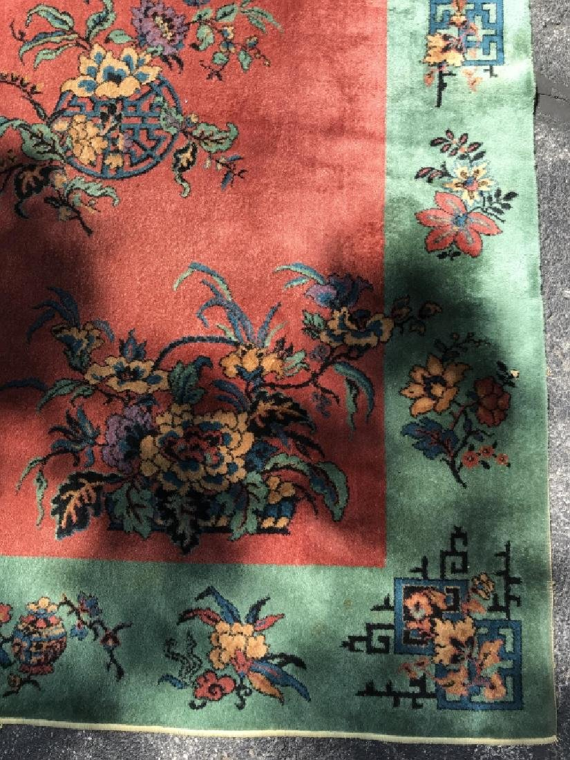 Vintage Handmade Chinese Art Deco Wool Rug - 3
