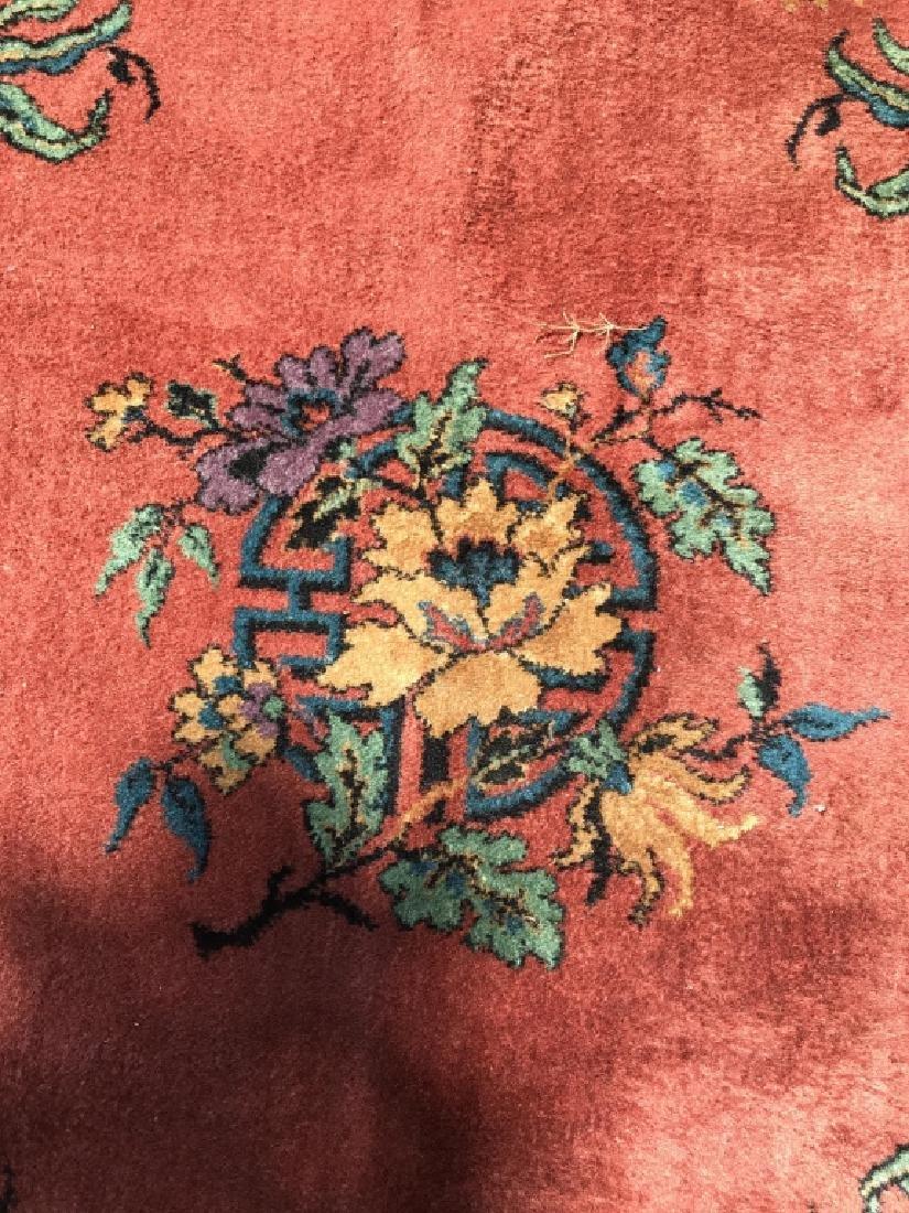 Vintage Handmade Chinese Art Deco Wool Rug - 4