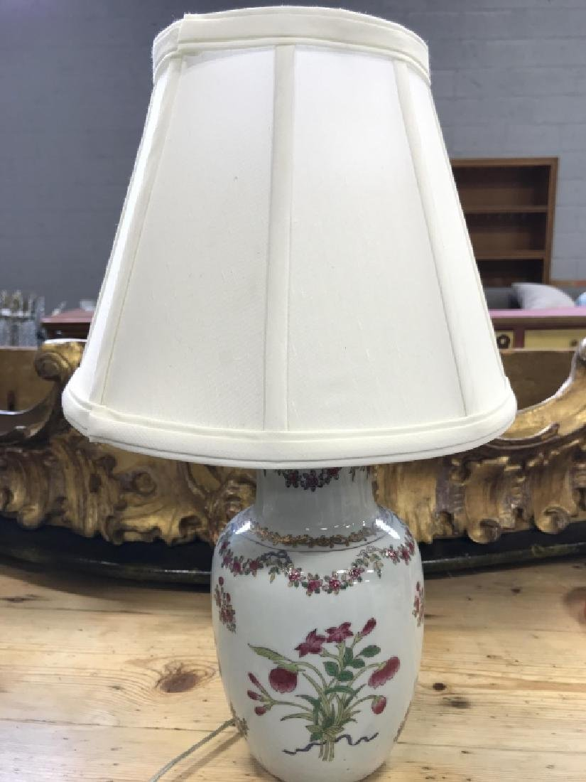 Painted Ceramic Floral Table Lamp - 2