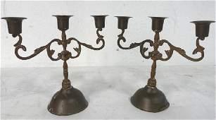 Vintage Pair Of Copper Toned 3 Arm Candelabras