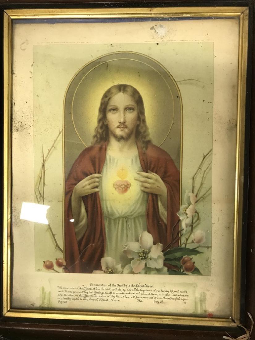 Vintage Framed Jesus Christ Art Print - 2