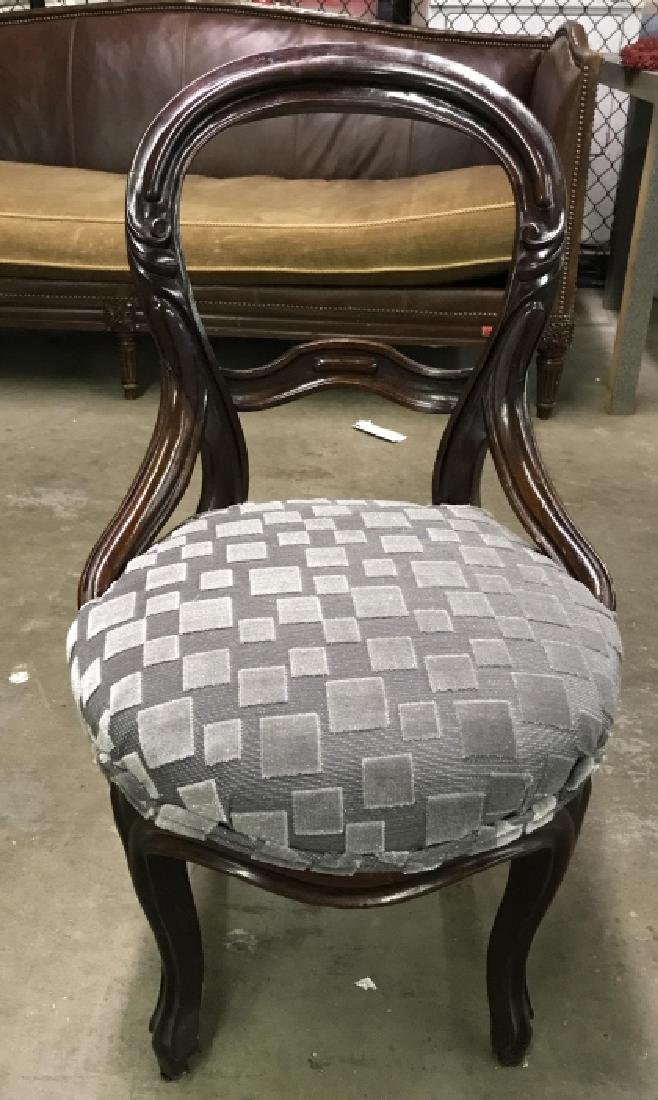 Carved Wooden Upholstered Seat Side Chair