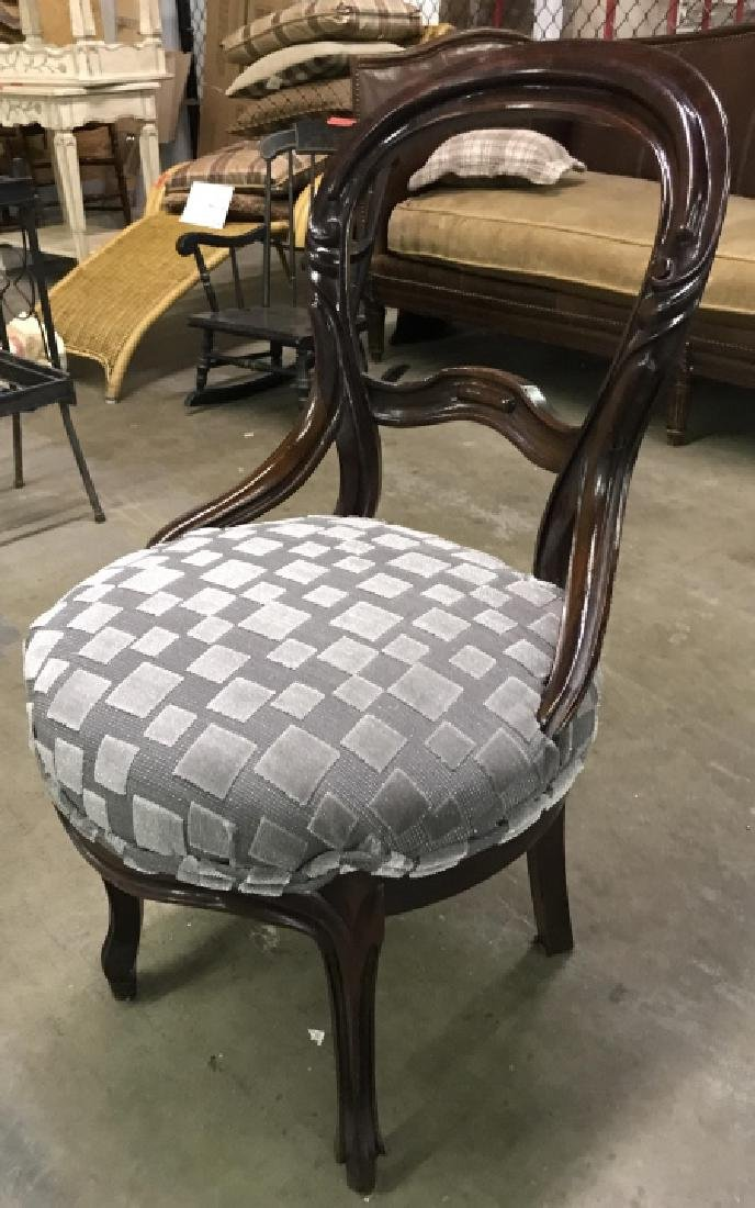 Carved Wooden Upholstered Seat Side Chair - 2