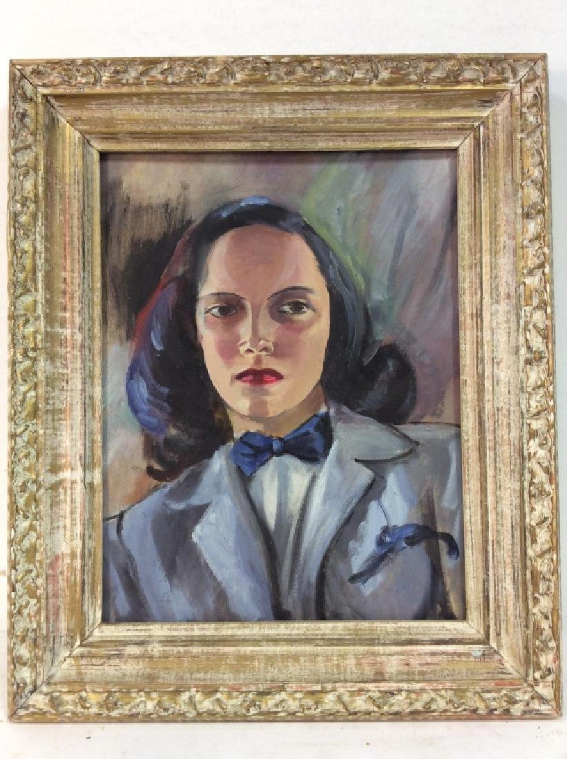 Vintage Painting of Woman In a Suit