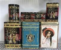 Vintage Tea Tin Cannister Group Lot