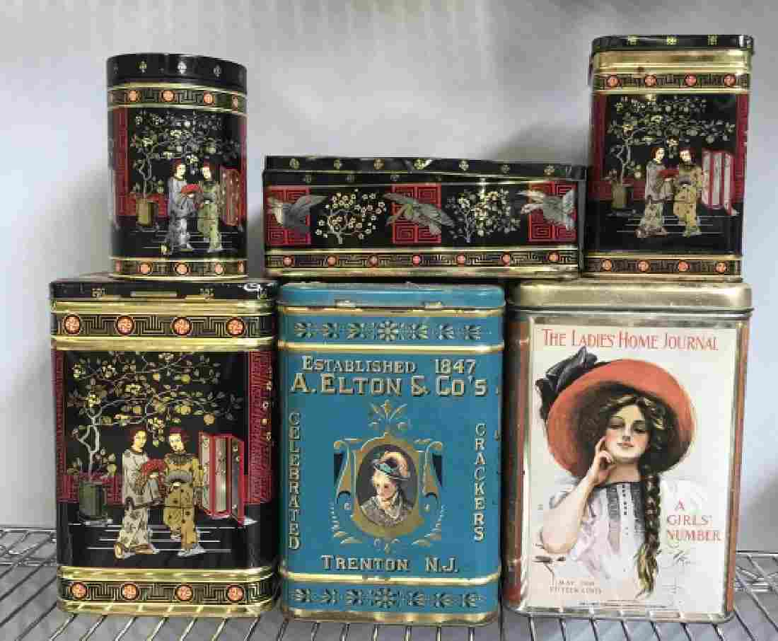 Vintage Tea Tin Cannister Group Lot