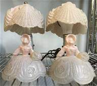 Pair Pink Opaline Glass Figural Lamps