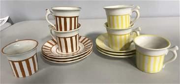 Italian Striped Ceramic Cup Saucer Set