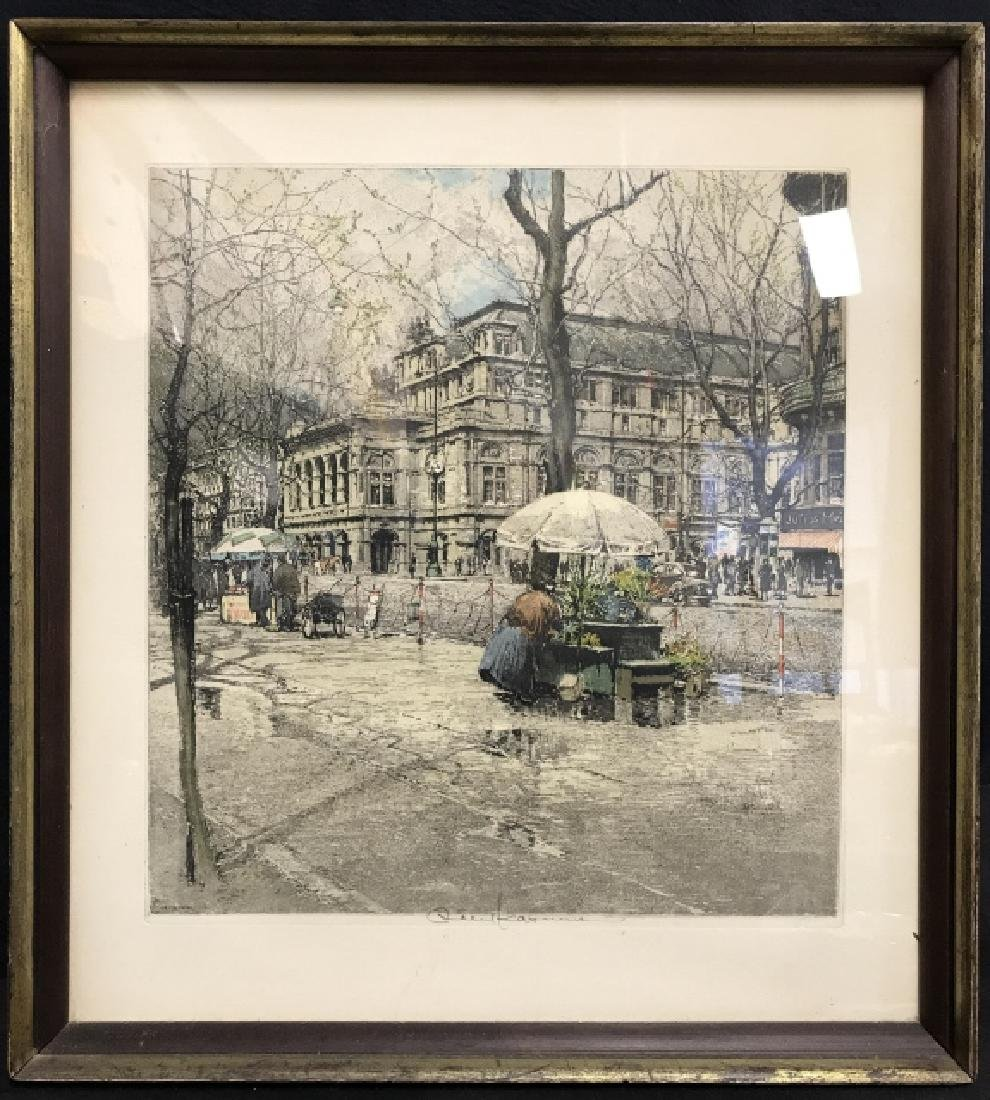 Signed Framed Lithograph Of City - 2