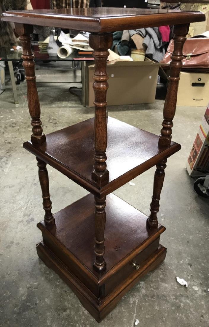 Multi Level Carved Wooden Side Table - 2