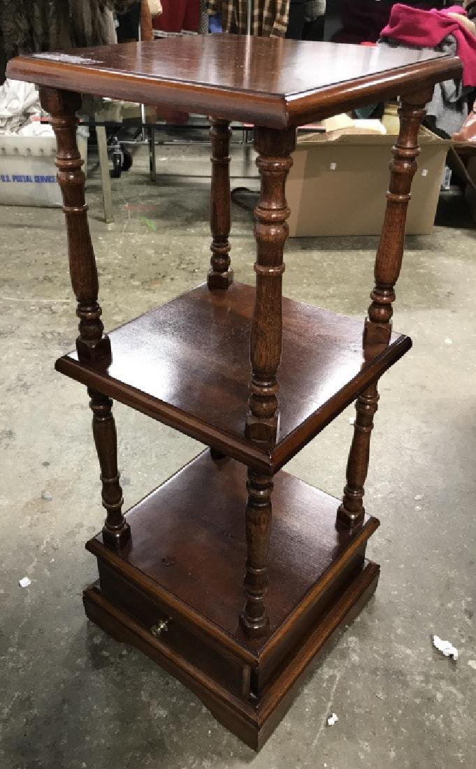 Multi Level Carved Wooden Side Table - 3