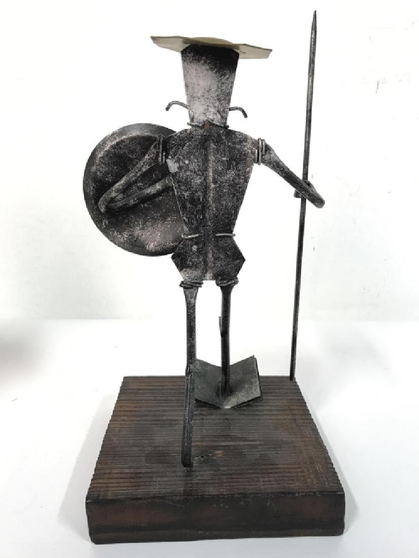 Metal Warrior Figural W Wooden Base - 6