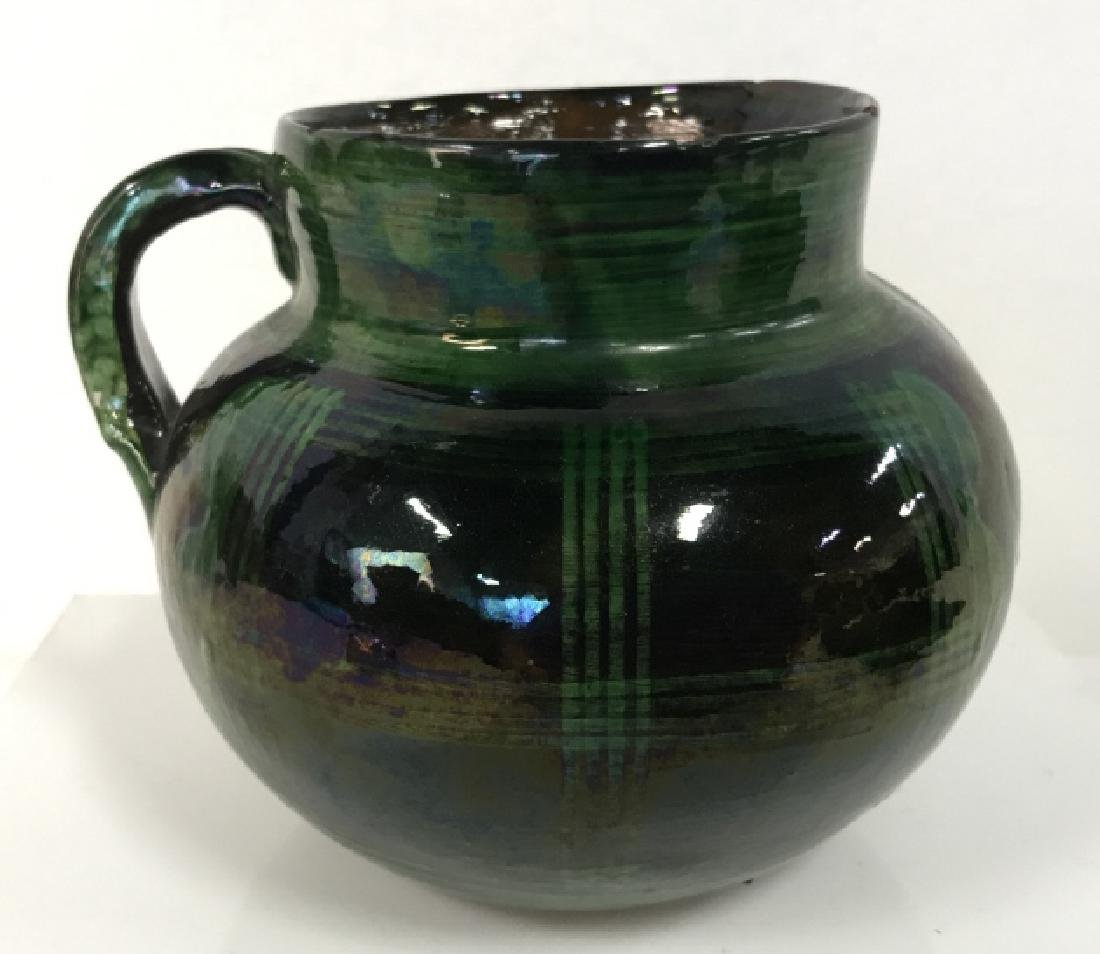 Hand Painted Pottery Vessel With Handle