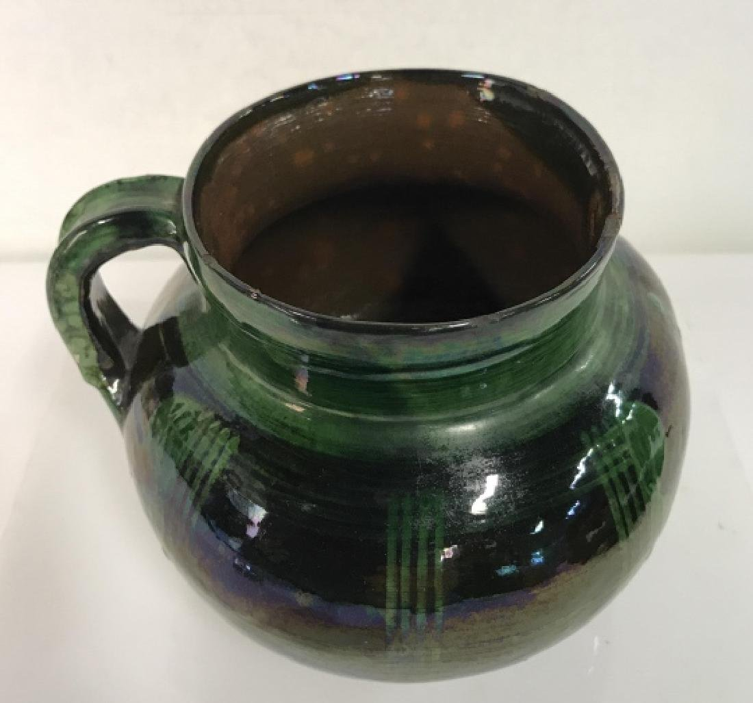 Hand Painted Pottery Vessel With Handle - 2