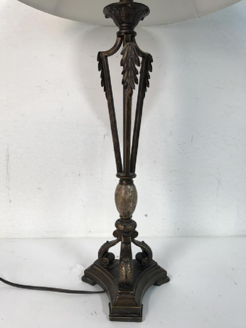 Bronze Toned Metal Lamp W Shade - 2