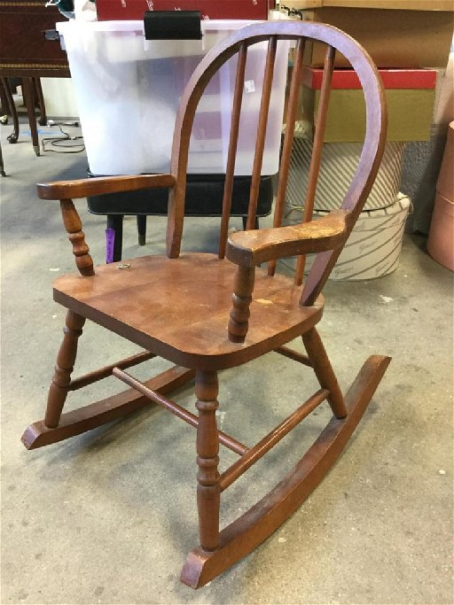 Phenomenal Childs Vintage Wooden Rocking Chair Ncnpc Chair Design For Home Ncnpcorg