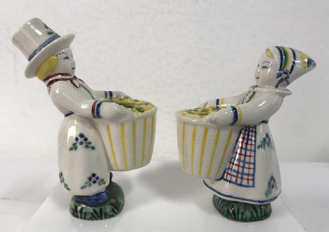 Pair Of Hand Painted Ceramic Vases Denmark - 2