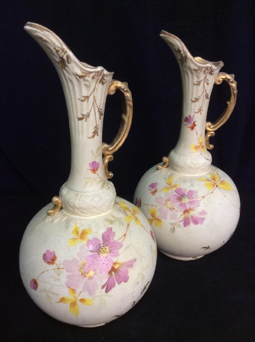 Pair Porcelain Floral Decorated Pitchers