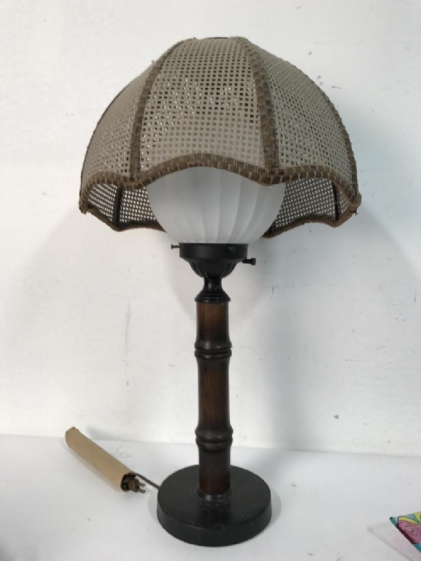 Wood & METAL Lamp W Orb Shape & Shade