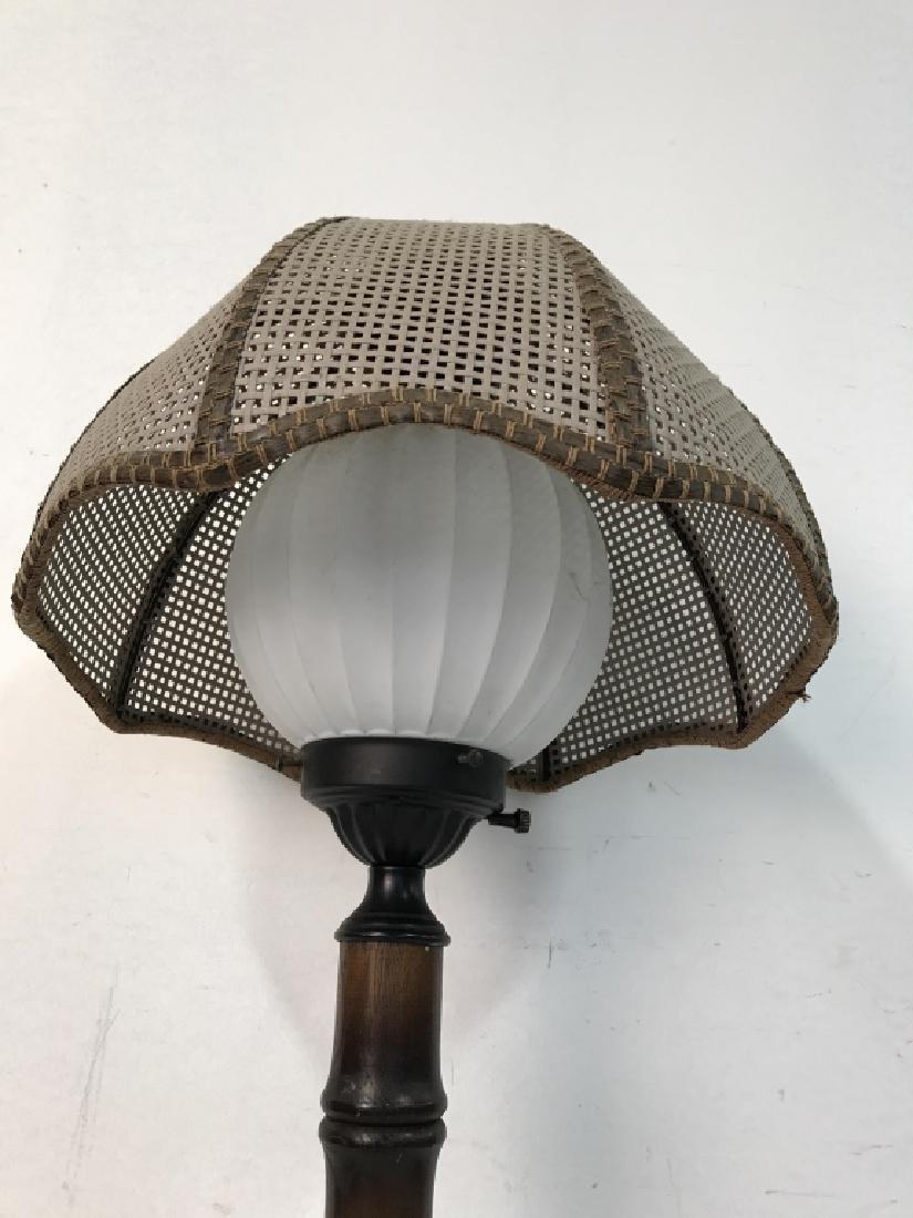 Wood & METAL Lamp W Orb Shape & Shade - 3