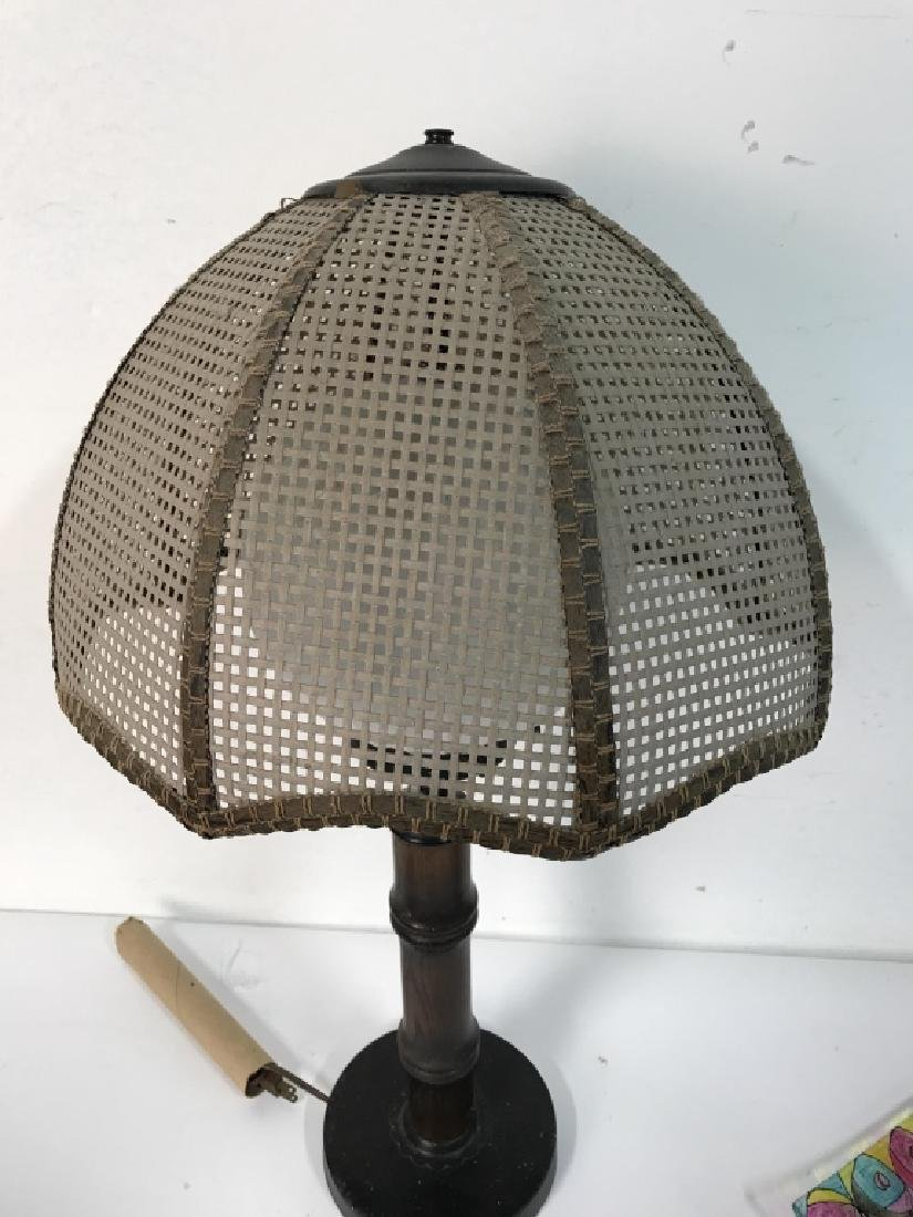Wood & METAL Lamp W Orb Shape & Shade - 4