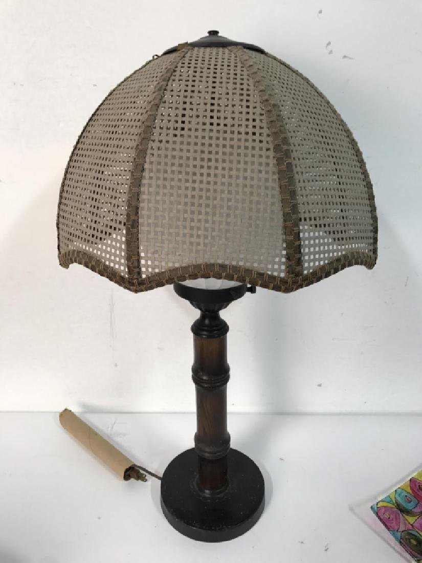 Wood & METAL Lamp W Orb Shape & Shade - 5