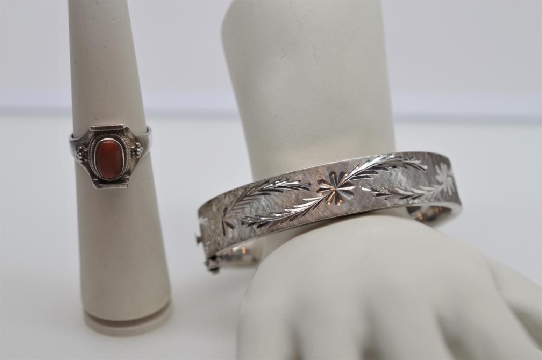 Antique Sterling Silver Bangle Bracelet&Ring
