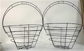 Pair Vintage Metal Wire Baskets