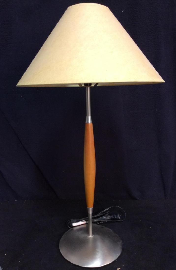 Slim Body Wooden & Metal Lamp W Shade