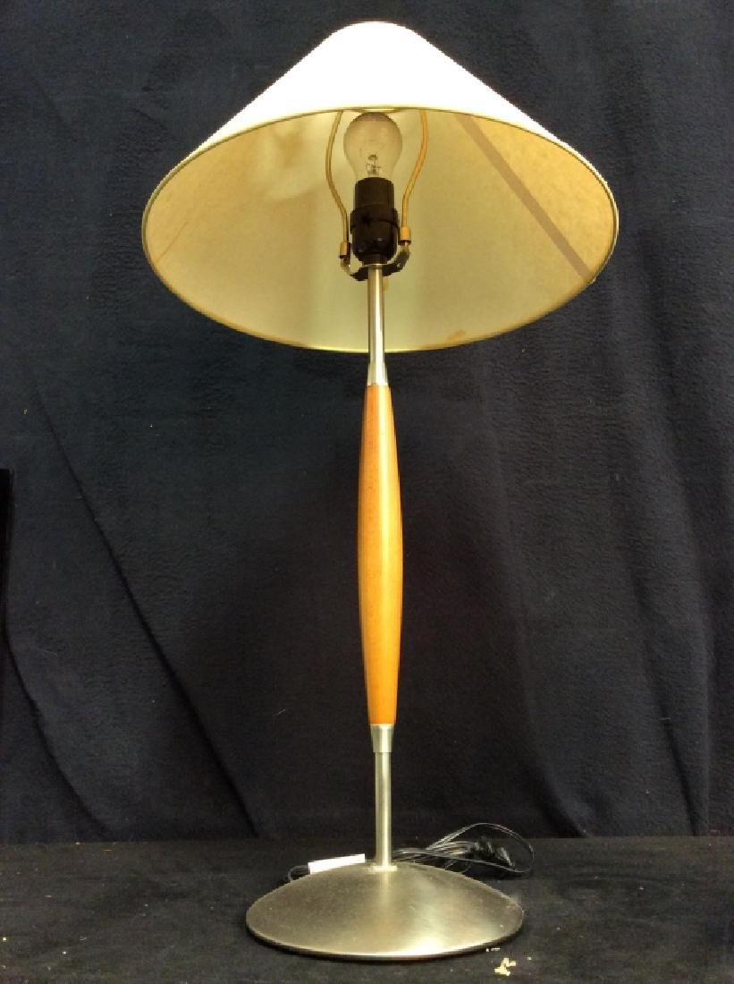 Slim Body Wooden & Metal Lamp W Shade - 2