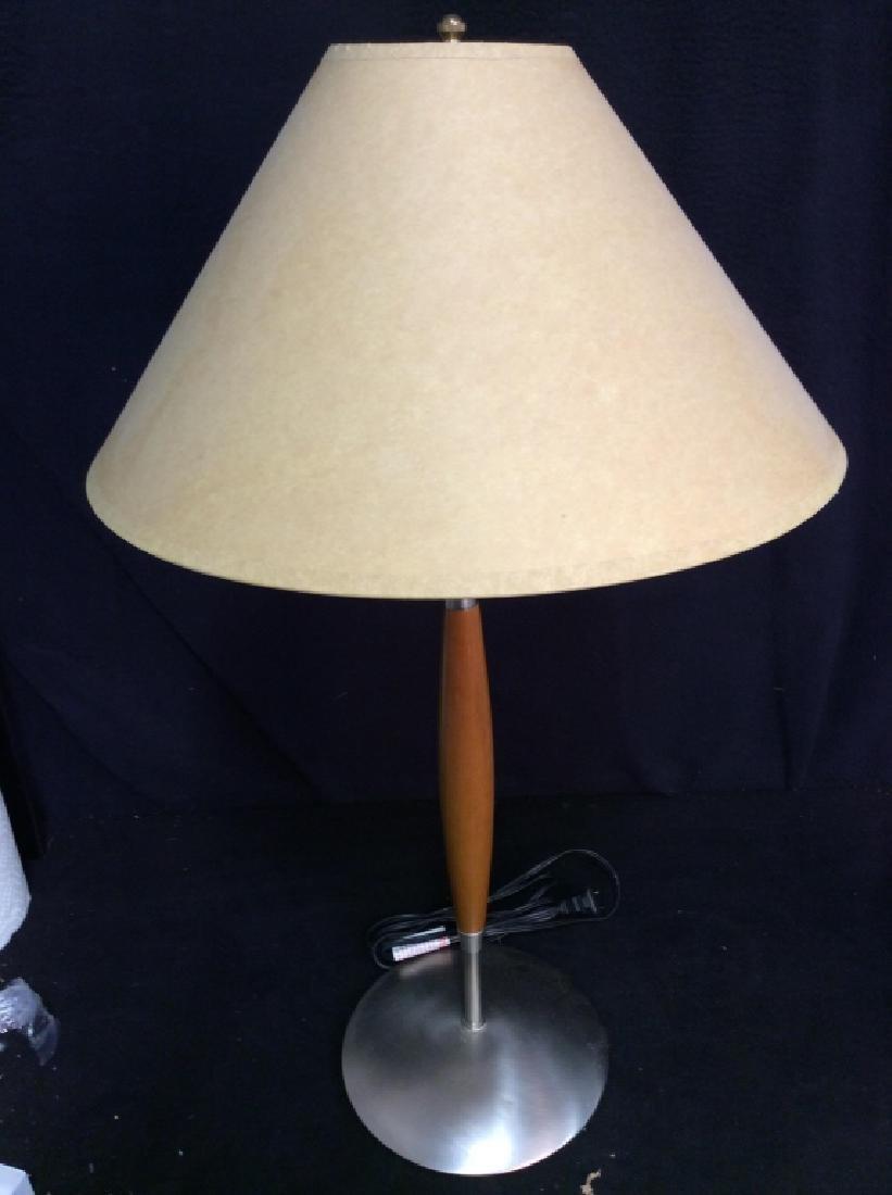 Slim Body Wooden & Metal Lamp W Shade - 3