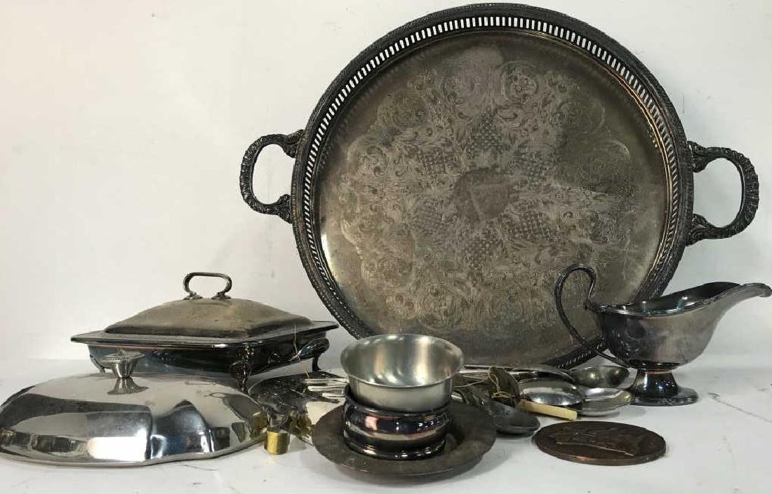 Group Lot Vintage Silver Plate Table top
