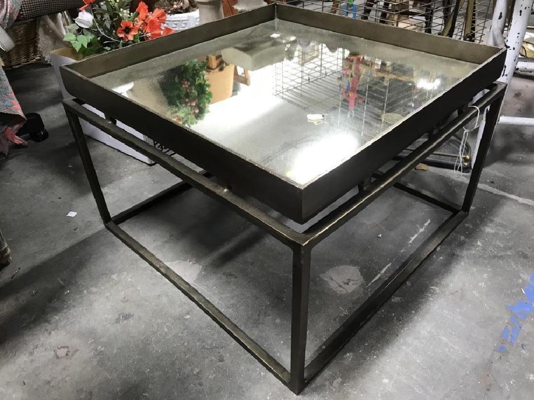 Mirror Top Metal Coffee Table - 2