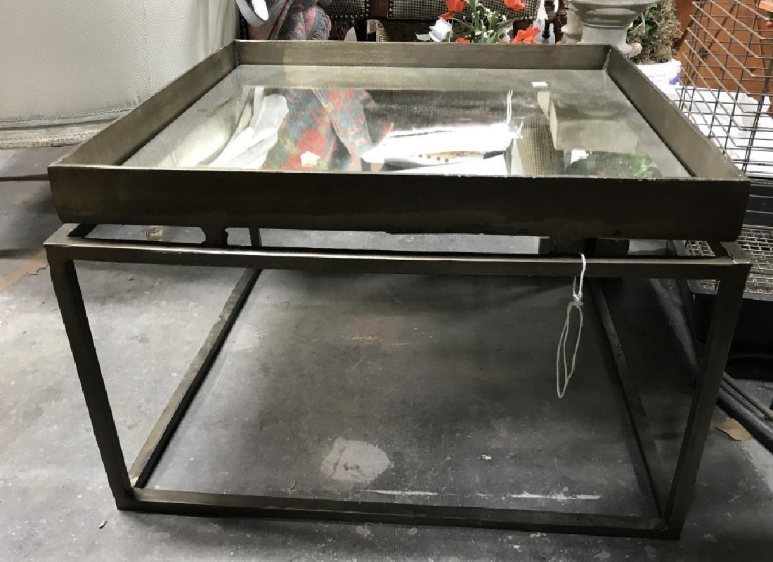 Mirror Top Metal Coffee Table - 4