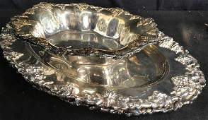 Set 4 Silver Plate Trays Bowls Tableware