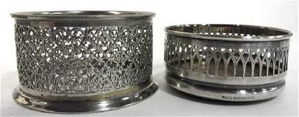 Lot 2 Silver Plated English Wine Coasters