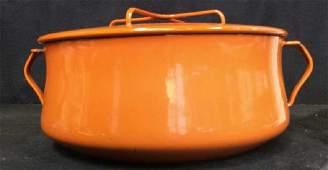 Vintage DANSK Orange Enamel Pot w Lid