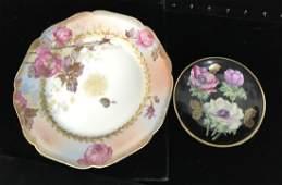 2 Painted Porcelain Plates