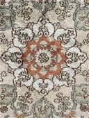 Vintage Handmade Silk Fringed Rug