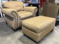 Lot 2 Ethan Allen Upholstered Arm Chair W Ottoman
