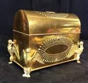 Antique Gilt Bronze Lidded Letter Box