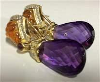 18k Gold Amethyst Diamond Earrings