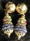 Pair Italian 18K Gold Jeweled Drop Earrings