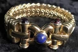 14k Gold Mesh Jeweled Bracelet Italy