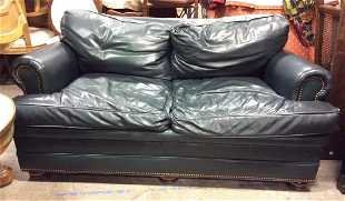 Han Moore Green Toned Leather Loveseat