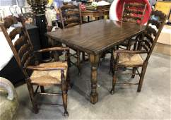Set 5 Dark Wooden Table  4 Ladder Back Chairs