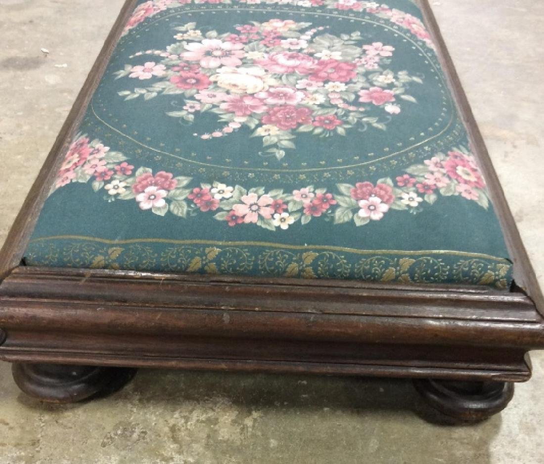 Vintage Upholstered Low Bench