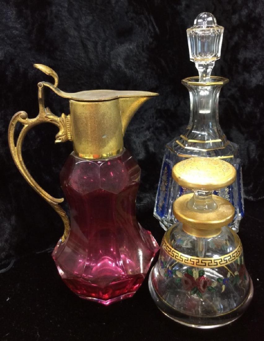Lot 3 Vintage Glass Perfume Bottles & More