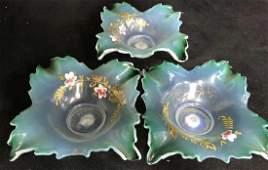 Vintage Set 3 Painted Opaline Table Decor