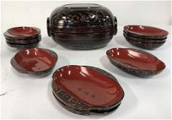 Lot 12 Japanese Lacquered Box & Decorative Dishes